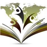 Het embleem van het wereldonderwijs op witte achtergrond stock illustratie