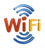Het embleem van WiFi. 3D concept Stock Afbeeldingen