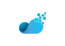 Het embleem van wolkengegevens abstracte gegevensverwerkingsinformatie Royalty-vrije Stock Afbeeldingen