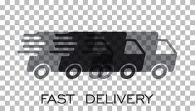 Het embleem vectorillustratie van de leveringsvrachtwagen De snelle leveringsdienst s vector illustratie