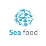 Het embleem vectormalplaatje van overzees voedselrestaurants Stock Afbeeldingen