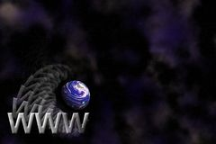 Het embleemachtergrond van WWW en van de Aarde Royalty-vrije Stock Foto's