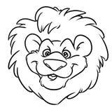 Het Embleembeeldverhaal van leeuw grappig Hoofd rood manen vector illustratie