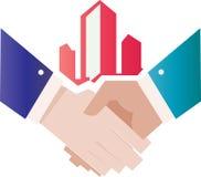 Het embleemconcept van de handschok voor Financiën en Boekhouding vector illustratie