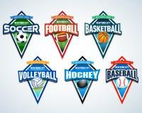 Het embleememblemen van het sportteam, kenteken, geplaatste het ontwerpmalplaatjes van de t-shirtkleding Voetbal, Amerikaanse voe stock foto's