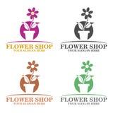 Het embleemmalplaatje van de bloemwinkel Stock Afbeeldingen