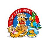 Het embleemmalplaatje van de dierenartskliniek De vector van beeldverhaaldieren Stock Foto's