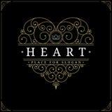 Het embleemmalplaatje van de hart uitstekend luxe royalty-vrije illustratie