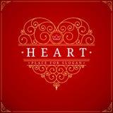 Het embleemmalplaatje van de hart uitstekend luxe Royalty-vrije Stock Foto