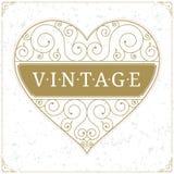Het embleemmalplaatje van de hartluxe in uitstekende stijl Royalty-vrije Stock Foto's