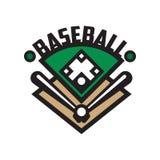 Het embleemmalplaatje van de honkbalsport, ontwerpelement voor, kenteken, banner, embleem, etiket, insignes vectorillustratie op  Royalty-vrije Stock Afbeeldingen