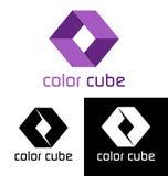 Het embleemmalplaatje van de kleurenkubus Royalty-vrije Stock Afbeelding