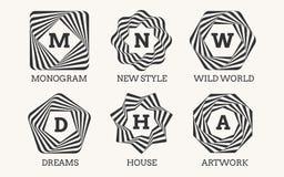 Het embleemontwerp of monogram van de lijnkunst Royalty-vrije Stock Foto