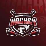 Het embleemontwerp van de hockey vectormascotte met de moderne stijl van het illustratieconcept voor kenteken, embleem en t-shirt vector illustratie