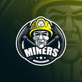 Het embleemontwerp van de mijnwerkers vectormascotte met de moderne stijl van het illustratieconcept voor kenteken, embleem en t- stock illustratie