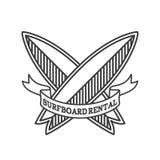 Het embleemontwerp van de surfplankhuur Het surfen logotype vectorillustratie Retro stijl Stock Afbeeldingen