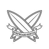 Het embleemontwerp van de surfplankhuur Het surfen logotype vectorillustratie Retro stijl Stock Afbeelding