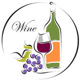 Het embleemontwerp van de wijn Stock Fotografie