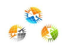 Het embleemontwerp van de zonnepaneeldienst Stock Afbeelding
