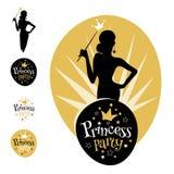 Het embleemontwerp van prinsesParty Stock Foto's