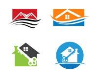 Het Embleemontwerp van Real Estate, van het Bezit en van de Bouw voor bedrijfs collectief teken stock foto's