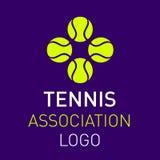 Het embleemontwerp van tennisballen voor clubs Stock Afbeeldingen
