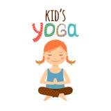 Het embleemontwerp van yogajonge geitjes met meisje stock illustratie