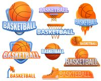 Het embleemreeks van de basketbalsport, beeldverhaalstijl stock illustratie