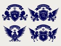 Het embleemreeks van Heraldric koninklijke kammen royalty-vrije illustratie