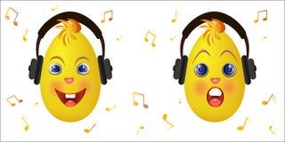 Het Emoticonkuiken met hoofdtelefoons luistert muziek Royalty-vrije Stock Afbeelding
