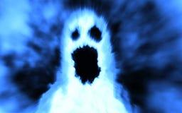 Het enge gezicht van het spookkarakter Blauwe kleur royalty-vrije illustratie