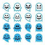 Het enge spook van Halloween, geplaatste geestpictogrammen Stock Afbeeldingen