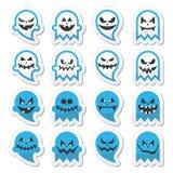 Het enge spook van Halloween, geplaatste geestpictogrammen Royalty-vrije Stock Afbeelding