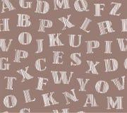 Het Engelse brieven in de schaduw stellen van wit, grijze achtergrond, naadloos, bruin, vector Stock Foto