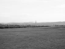 Het Engelse panorama van het land in Salisbury in zwart-wit royalty-vrije stock afbeeldingen