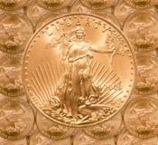 Het enige gouden muntstuk van de Vrijheid Stock Afbeelding
