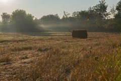 Het enige Hay Bale In Field Early-Ochtendzon Toenemen Royalty-vrije Stock Foto's