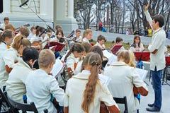 Het ensemble van kinderen van volksinstrumenten Stock Foto