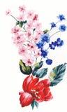 Het enthousiasme is gewaagd en ongebreideld van bloemen, het de bladeren en ontwerp van de bloemenkunst Stock Afbeeldingen