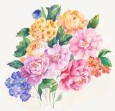Het enthousiasme is gewaagd en ongebreideld van bloemen, het de bladeren en ontwerp van de bloemenkunst Stock Foto's