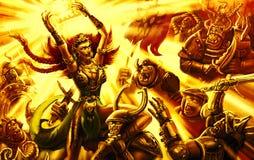 Het epische meisje van de slag magische strijder met het leger van duisternis royalty-vrije illustratie