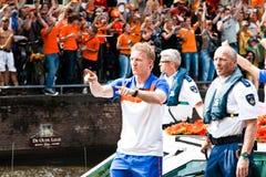 Het eren van het Nederlandse voetbalteam Stock Afbeeldingen