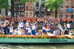 Het eren van het Nederlandse voetbalteam Stock Foto