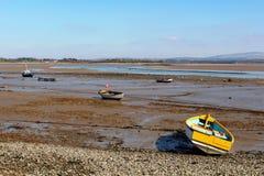Het estuarium van rivierlune op het Punt van Sunderland, Lancashire stock fotografie