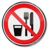 Het eten of het drinken wordt niet toegestaan vector illustratie