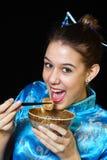 Het eten van Chinees stock foto's