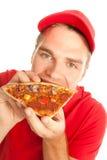 Het eten van een pizza Stock Fotografie