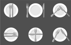 Het eten van etiquette, vorken en messensignalen Duif als symbool van liefde, pease stock illustratie