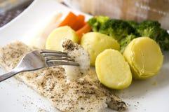Het eten van gebakken vissen Royalty-vrije Stock Afbeelding