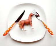 Het eten van het concept van het paardvlees Stock Afbeelding